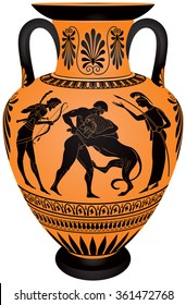 Amphora Hercules First Labor, Heracles Fighting the Lion, Hercules wrestling Lion, Ancient Greece ceramic pottery for the vine, Black figure vase painting style vector illustration