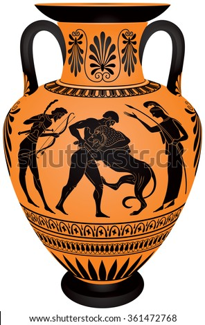 Amphora Hercules First Labor Heracles Fighting Stock Vector Royalty