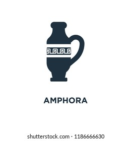 Amphora icon. Black filled vector illustration. Amphora symbol on white background. Can be used in web and mobile.