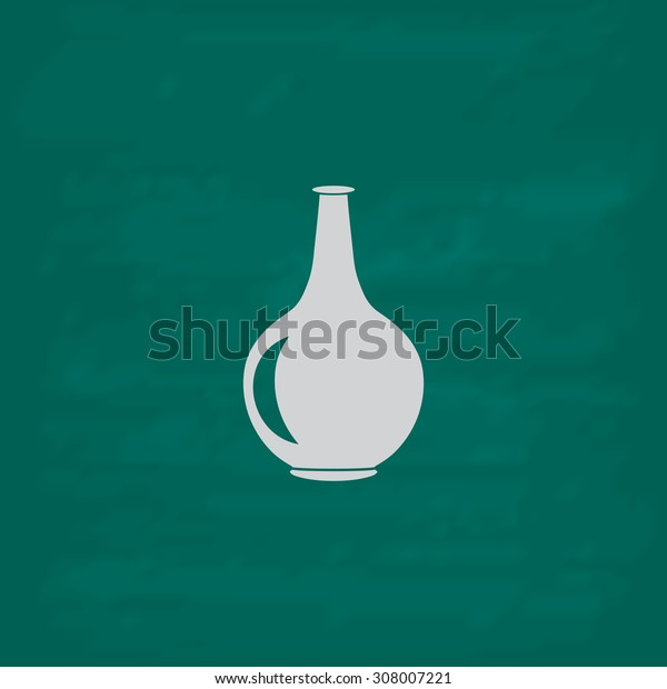 Amphora. Icon. Imitation draw with white chalk on green chalkboard. Flat Pictogram and School board background. Vector illustration symbol