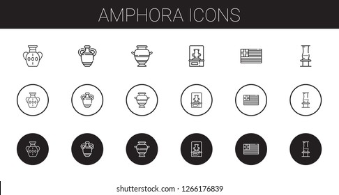 amphora icons set. Collection of amphora with vase, greece. Editable and scalable amphora icons.