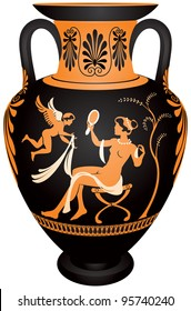 Amphora, Red-figure vase painting vector images, Greek goddess Aphrodite with the mirror and winged Eros, or Venus and Cupid, ceramic pottery in Ancient Greece and Rome for the vine and olive oil