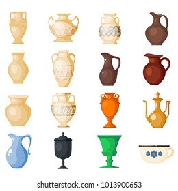 Amphora vector amphoric ancient greek vases and symbols of antiquity and Greece illustration set isolated on white background