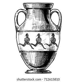 Amphora. Vector hand drawn sketch of ancient greek vase.