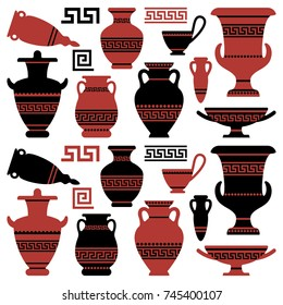 Amphoras with an antique Greek ornament. Vector illustration