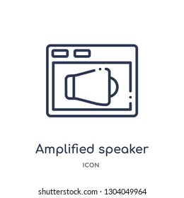 amplified speaker icon from user interface outline collection. Thin line amplified speaker icon isolated on white background.