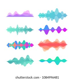 Amplitude color motion waves. Abstract electronic music sound voice wave vector set. Digital effect equalizer colored illustration