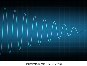 The amplitude of the signal attenuation. The voltage waveform. A sound wave of light on a dark background. Stock vector illustration.
