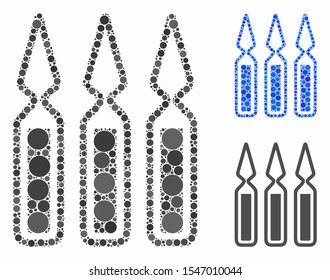 Ampoules composition of spheric dots in different sizes and shades, based on ampoules icon. Vector round dots are combined into blue composition. Dotted ampoules icon in usual and blue versions.