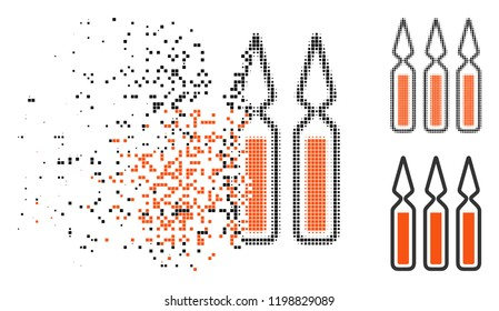Ampoules icon in dissolving, pixelated halftone and undamaged solid variants. Pixels are grouped into vector dissolving ampoules icon. Disintegration effect involves rectangular points.