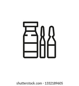 Ampoules for injection. Medicine, hospital, healthcare. Pharmaceutical concept. Vector illustration can be used for topics like apothecary, pharm store, hospital