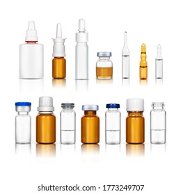 Ampoules and medical bottles set C on a white background