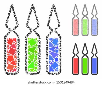 Ampoules mosaic of abrupt parts in different sizes and color tints, based on ampoules icon. Vector abrupt parts are organized into mosaic. Ampoules icons collage with dotted pattern.