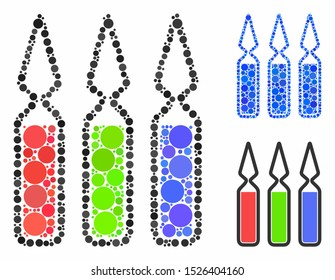 Ampoules mosaic for ampoules icon of round dots in different sizes and shades. Vector round dots are composed into blue mosaic. Dotted ampoules icon in usual and blue versions.