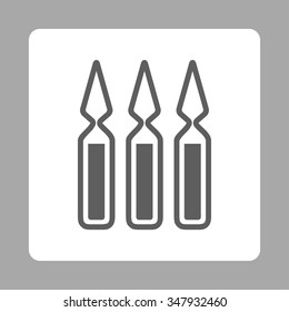 Ampoules vector icon. Style is flat rounded square button, dark gray and white colors, silver background.