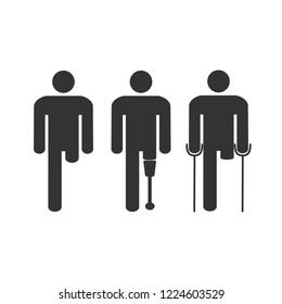 Amputee disabled man. Vector illustration, flat design.