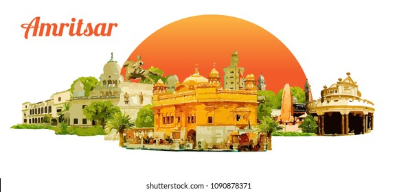 AMRITSAR city colored watercolor painting illustration