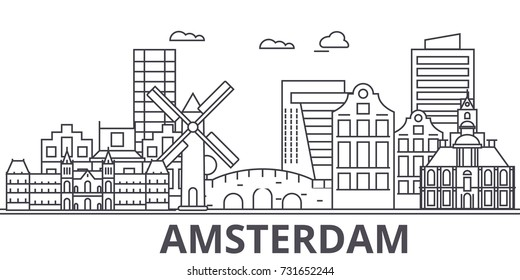 Amsterdam architecture line skyline illustration. Linear vector cityscape with famous landmarks, city sights, design icons. Landscape wtih editable strokes