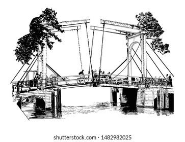 Amsterdam, bridge over a canal - vector illustration