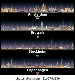 Amsterdam, Brussels, Stockholm and Copenhagen vector abstract skylines at night with bright city lights