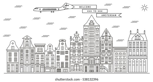 Amsterdam buildings skyline. Flat line set of architecture of Netherlands. Vector illustration of Dutch houses. Template for tourist guides and books, banners, flyers, graphic and web design.