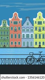 Amsterdam city. Houses in Holland