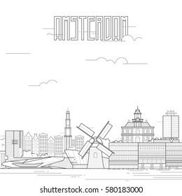 Amsterdam city with iconic buildings. Line art flat design. Vector illustration.