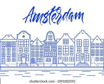 Amsterdam city line art illustration in Delfts blue color.