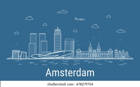 Amsterdam city, Line Art Vector illustration with all famous towers. Linear Banner with Showplace. Composition of Modern buildings, Cityscape. Amsterdam buildings set