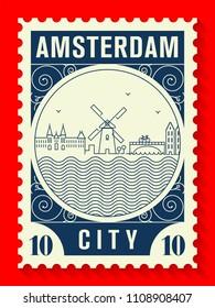 Amsterdam City Line Style Postage Stamp Design