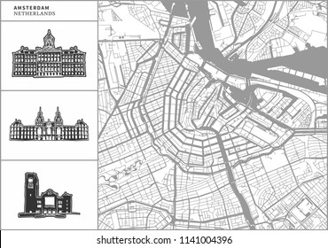 Amsterdam city map with hand-drawn architecture icons. All drawigns, map and background separated for easy color change. Easy repositioning in vector version.