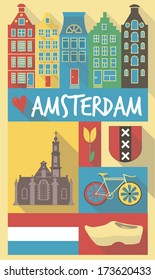 amsterdam cultural icons on travel poster. city symbols for postcards, cardboards, posters