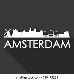 Amsterdam Flat Icon Skyline Silhouette Design City Vector Art Famous Buildings