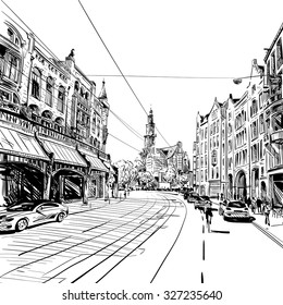 Amsterdam hand drawn, vector illustration