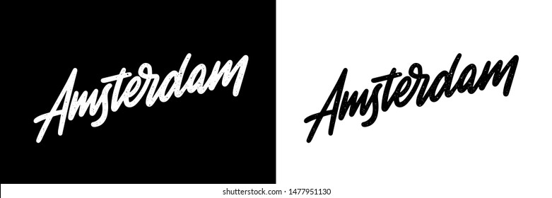 Amsterdam handwritten city name.Modern Calligraphy Hand Lettering for Printing,background ,logo, for posters, invitations, cards. Typography vector. The inscription on a white and black background.