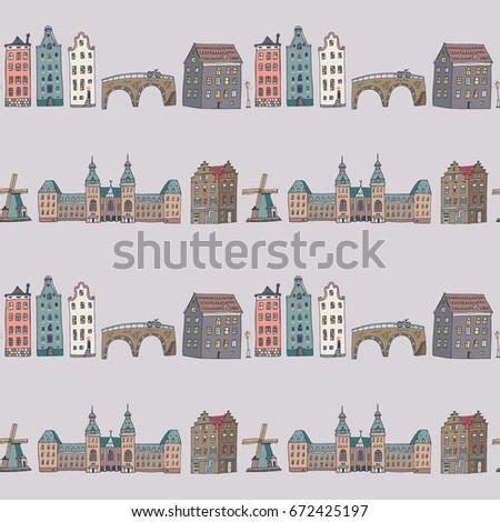 Amsterdam Holland City Doodle Objects Cartoon Stock Vector