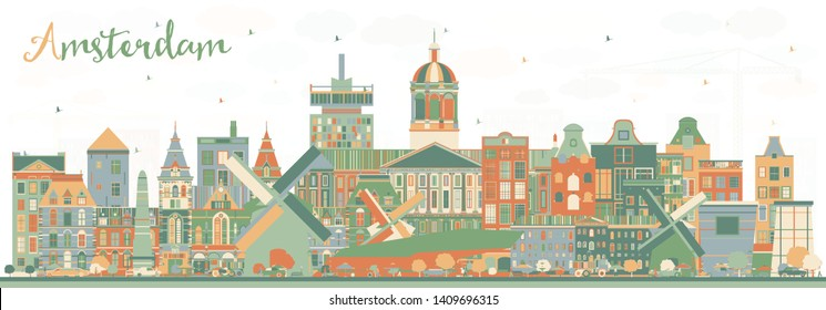 Amsterdam Holland City Skyline with Color Buildings. Vector Illustration. Business Travel and Tourism Concept with Historic Architecture. Amsterdam Netherlands Cityscape with Landmarks.