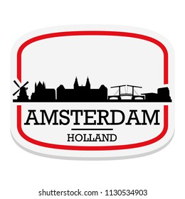 Amsterdam Holland Label Stamp Icon Skyline City Design Tourism