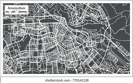 Amsterdam Holland Map in Retro Style. Vector Illustration. Outline Map.