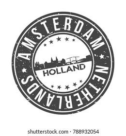 Amsterdam Holland Netherlands Europa Stamp. Logo Icon Symbol Design Skyline City Vector.
