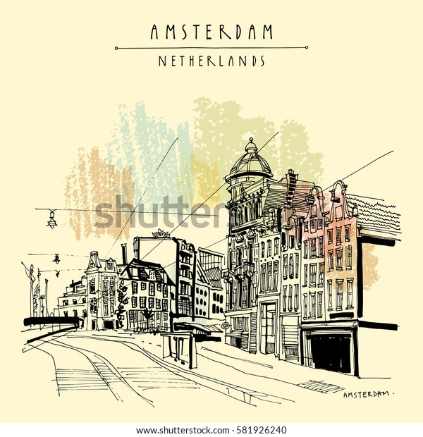 Amsterdam, Holland, Netherlands Europe. Street in old town, tram stop. Dutch traditional historical buildings. Hand drawing. Travel sketch. Book illustration, postcard or poster in vector