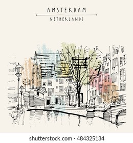 Amsterdam, Holland, Netherlands Europe. View of old center with bicycles. Dutch traditional historical buildings. Hand drawing. Travel sketch. Book illustration, postcard or poster template in vector