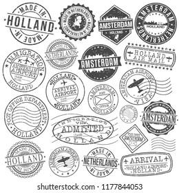 Amsterdam Holland Stamp Vector Art Postal Passport Travel Design Set