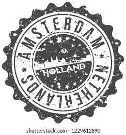 Amsterdam Holland Travel Stamp Icon City Design Tourism Export Seal