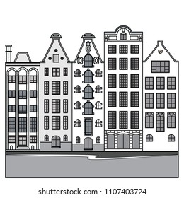 amsterdam, houses, vector, art
