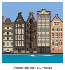 amsterdam, houses, vector, art