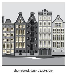 amsterdam houses vector art