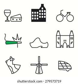 Amsterdam icons set