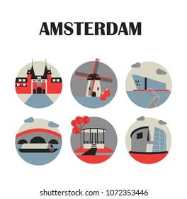 Amsterdam landmarks icons set, vector illustration. Rijksmuseum, centraal, central station, windmill, tulip, Zaanse Schans, NEMO science museum, canal boat, bridge, Vondelpark, Van Gogh museum.Symbols