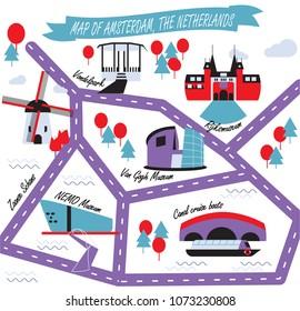 Amsterdam landmarks map, vector illustration. Landmarks guide icons set, vector illustration. Rijksmuseum, windmill, tulip, Zaanse Schans, NEMO, canal boat cruise, Van Gogh, Vondelpark.
